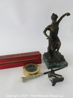 WYSIWYG : rectangular wood box, blind justice statue (-scales), letter opener, paperclip remover, time zone brass case