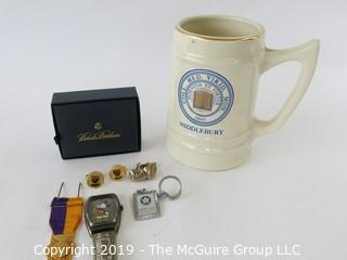 WYSIWYG Jewelry - asst of items: tankard, HARVARD cuff links, medal, key chain, Disney Micky Mouse watch (band broken)