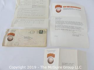 Paper: Recruitment letter from Red Holzman, General Mamager, NY Knicks (NBA) to Dale Dover, Harvard University basketball player, future U.S. Diplomat, Attorney and the first African American Mayor of Falls Church City, VA