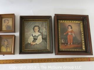 ART: four prints in original frames, classics and boy & girl