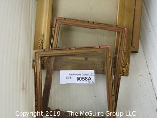Art: Assortment of Vintage Frames and Glass; medium sizes including Deco.