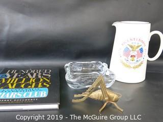WYSIWYG - Grouping: tankard, brass grasshopper, crystal dish, humor book
