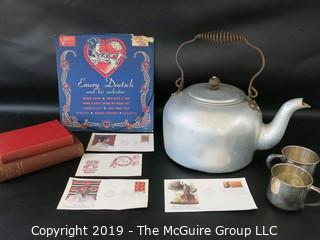WYSIWYG - grouping. books, record, sterling cups, tea kettle and postal first-day-covers