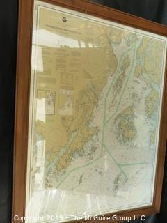 Paper: Historic: Americana: LARGE framed (under glass) hydro-graphic and geographic map of Penobscot Bay; Maine