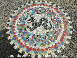 Furniture: round mosaic tile table with black dragon motif. Look at all photos