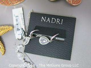 Jewelry: Asst. includes Nadri earrings and necklace, Gilt starfish, Gold tone bracelet and earrings