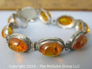 Jewelry:nice honey amber (baltic?) cabochon bracelet 925 SS