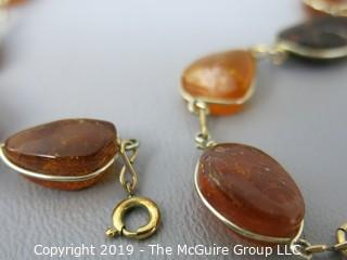 "Jewelry: Nice 16-17"" strand, wire wrapped necklace of Baltic amber nodules 1/20 GF 14K"