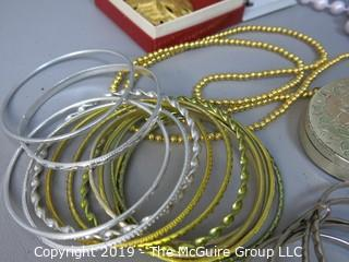 Jewelry: Assorted sets of bangles, compact, necklaces and pin