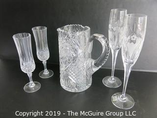 Housewares: Collectable: Cut water pitcher and (2) sets of champagne flutes