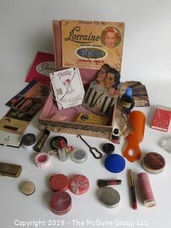 Collectable: Vintage Ladies Cosmetics and Toiletries in Handmade Lace Box