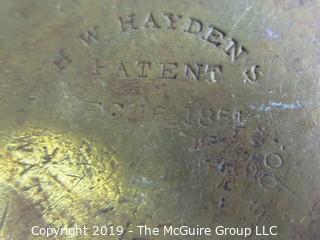 """Housewares: Collectable: Brass Kettle; stamped """"H W Hayden's"""" (eBay$$)"""