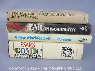 Collectable: Assorted Hardback Books; Humor including some inscribed -Ear on Washington