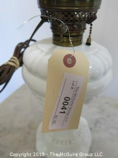 Collectibles: Kerosene lamp: Electrified: Milk Glass Base and clear globe