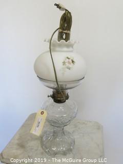 Collectibles: Kerosene lamp: Electrified: Pressed Glass Table Lamp with painted milk glass globe