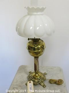 Collectibles:Kerosene lamp: Electrified: Metal Table Lamp with Milk Glass Shade embossed petals