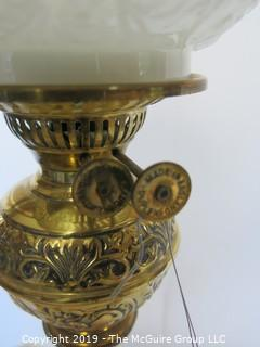Collectibles: Kerosene lamp: Electrified: Metal Table Lamp Base with Embossed Milk Glass Globe