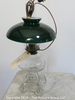 Collectibles: Kerosene lamp: Electrified: Glass Table Lamp with Curved Green Shade