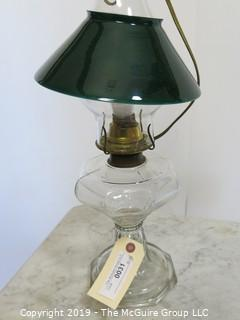 Collectibles: Kerosene lamp: Electrified: Glass Table Lamp with Conical Green Shade