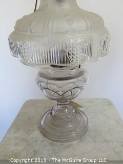 Collectibles: Kerosene lamp: Electrified: Glass  Table Lamp; Pressed glass shade partially frosted