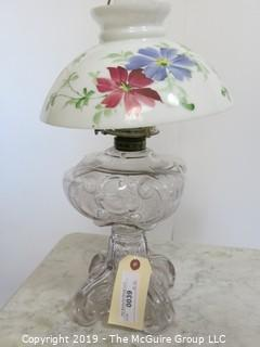 Collectibles: Kerosene lamp: Electrified: Glass Table Lamp with Floral Painted Milk Glass Shade