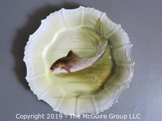 """Collectible: Ceramics: Blaheman & Henderson French Limoges Hand Painted Fish Platter and 3 Plates; platter is 16"""" diameter and plates are 7 1/2"""""""