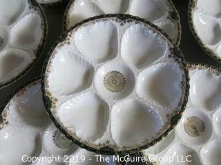 "Collectibles: Ceramics: Set of 8 Oyster Ornate Plates; hallmarked ""Victoria - Austria"" and numbered ""304"" 6-wells very detailed. SET OF EIGHT (8) WOW"