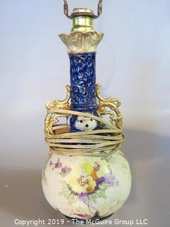 "Collectibles: Household: Lighting: Antique Hand Painted Table Lamp; hallmarked  ""International; Made in Austria"" (TMG 329)"