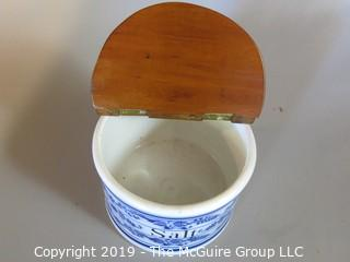 "Collectibles: Antique: Kitchen: Wall Mounted ""Salt"" Container; made in Germany  ~7"" in diameter"
