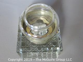 "Collectibles: Antique: Personal Item: Inkwell in cut crystal base; hallmarked ""J.G.&S"" John Grinsell & Sons, Birmingham Eng., hallmarks date to ~1903"