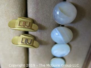 Collectibles: Historic: Political: Personal Care: Jewelry: Collection of Jewelry including LBJ Cuff Links (TMG #370)