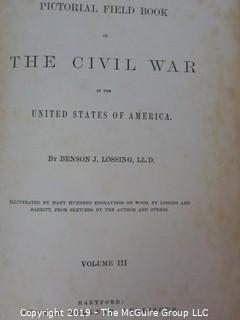"""Books: Book Series: 3 Leather Bound Volumes; """"Pictorial Field Book of the Civil War in the United States of America""""; by Benson J. Lossing; Thomas Belknap, publisher - eBay$$$"""