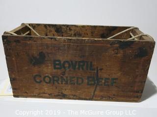 Advertising: Wood Crate: VTG: Borvil Corned Beef