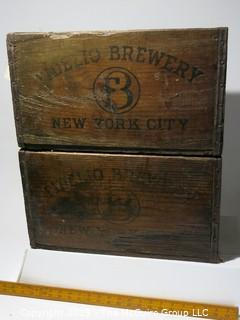 Advertising: Wood Crate: VTG: (refer to photos for condition): x2 FIDELO BREWERY - NEW YORK CITY