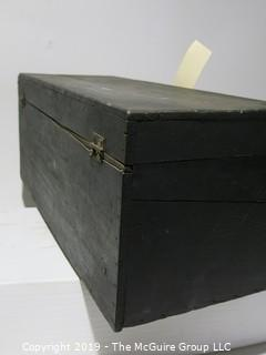 Wood Box: VTG: (refer to photos for condition): Black w/latch