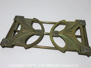 Desk Items: Brass: Art Deco expandable book holder WITH law books