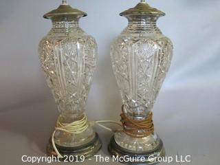 "Crystal: Pair of Cut Leaded Glass Lamp Bases: Wooden bottom : Stunning!; 15"" Tall"