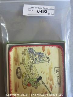Collectible: Oriental art trays x5 in box