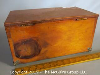 Wooden Shoe Shine Storage Box: VTG: (refer to photos for condition): includes contents