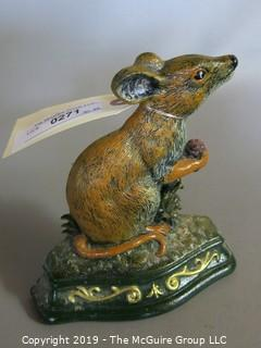 "Cast Iron: Door Stop: ""Wright Studios"" Mouse w/ Berry - Painted"