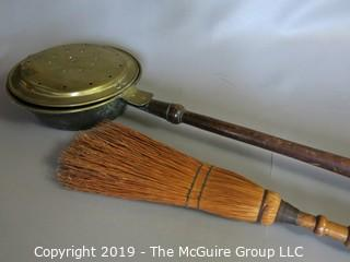 Household: Fireplace Items: Chestnut Roaster and Ash Broom