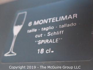 Glassware: 6 Stemmed Champagne Flutes: in Original Box, unused