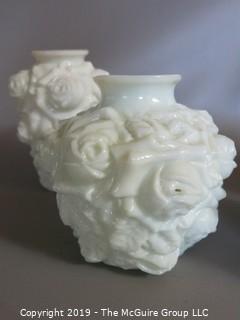 Milk-Glass: Rose Embossed Pattern Vases x4