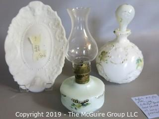 Milk-glass: Painted: Tray with Buffalo Motif, Decanter, Lamp