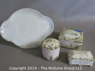 Milk-glass: Painted: Vanity Table Items: Tray covered boxes, examine photos for condition