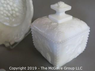 Milk-Glass: Vanity Table Items: Embossed: six items