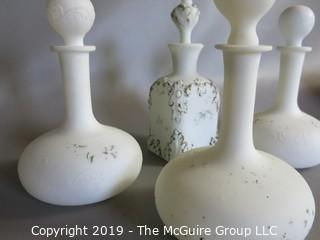 Milk-glass: Painted: four decanters with stoppers