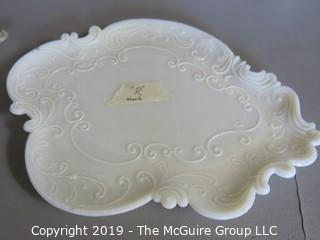 Milk-glass: Dresser Items: including Tray covered box