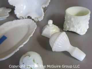 Milk-glass: Dresser Items: Trays, Bowls, Stoppers