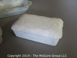 Milk-Glass: Vanity Items: Painted: Tray and covered boxes